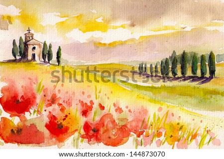 Landscape with cypress trees ,poppies and small church watercolor painted. - stock photo