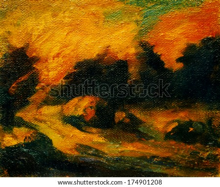landscape with decline and haystacks, painting by oil on canvas,  illustration - stock photo