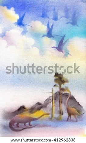 Landscape with dinosaurs. Aerografichnaya illustration. - stock photo
