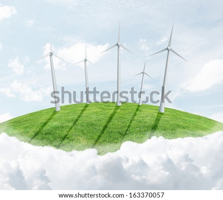 landscape with eco wind turbine
