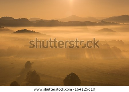 landscape with fog - stock photo