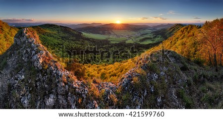 Landscape with forest mountains at sunset - stock photo
