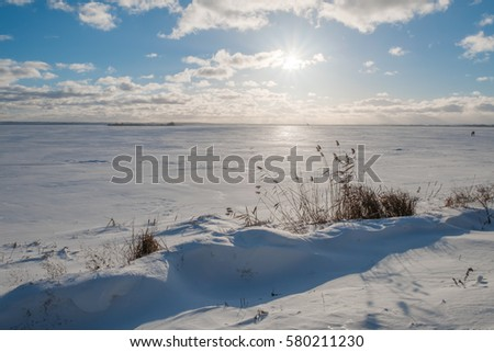 Landscape with frozen lake in winter day. Lake Nero in Rostov the Great