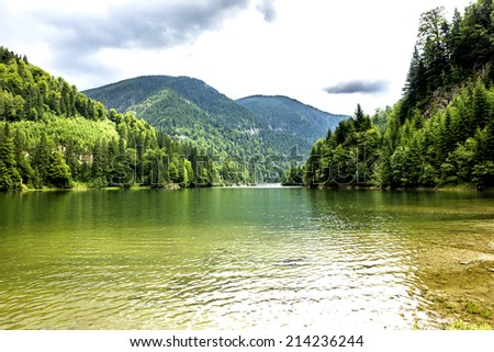 Landscape with  Galbenu lake in Romania in a summer day - stock photo