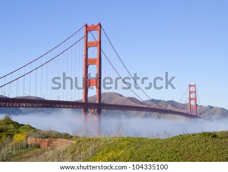 Landscape with Golden Gate Bridge in fog, green grass and mountains