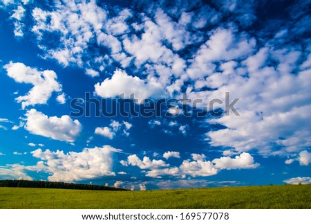 landscape with grass field and dramatic sky at sunset