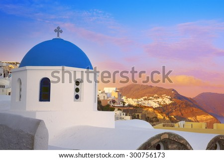 Landscape with greek bell tower, Santorini, Greece