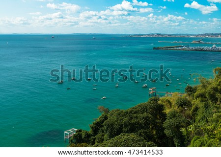 landscape with green and blue sea in Salvador Bahia Brazil