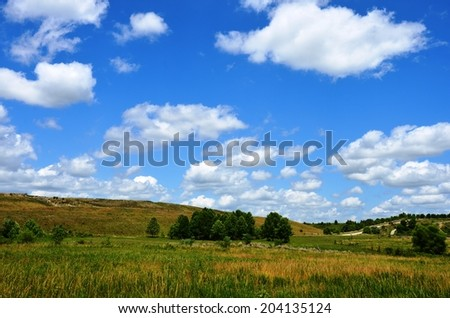 Landscape with green grass, trees, blue sky and clouds on reclaimed mining area.