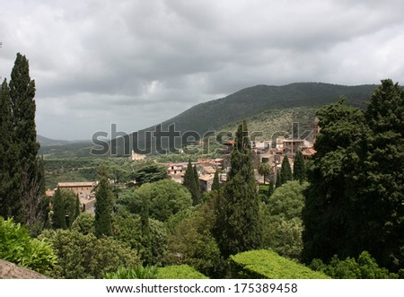 Landscape with green trees, mountains and city - stock photo