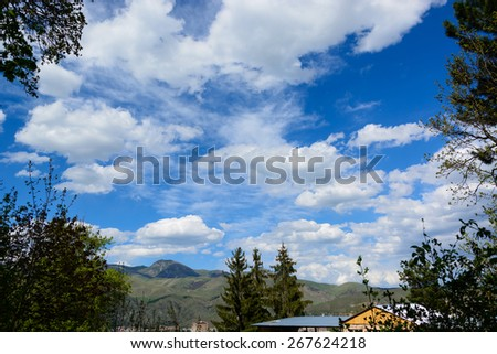 Landscape with heavenly sky - stock photo