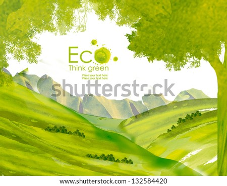 Landscape with  hills  and mountains from watercolor stains. Think Green. Ecology Concept. - stock photo