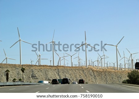 Landscape with Hills and Wind Mills Turbines