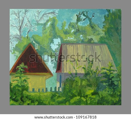landscape with house - stock photo