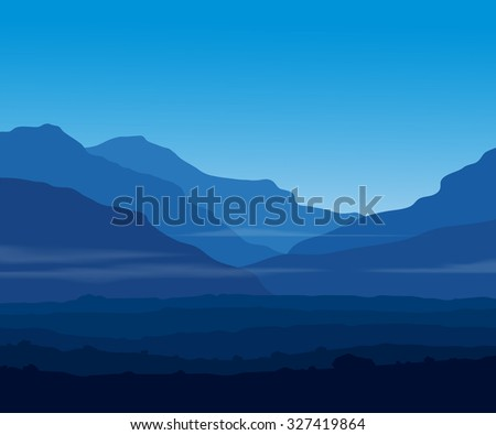 Landscape with huge blue mountains and copy-space. Raster illustration. - stock photo