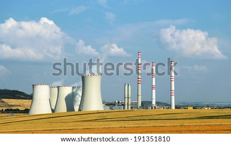 landscape with industrial building of powerhouse - stock photo