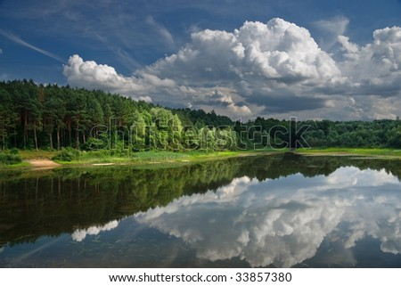 Landscape with lake on which coast a pine forest.