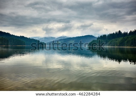 Landscape with lake Vidra in Southern Carpathians