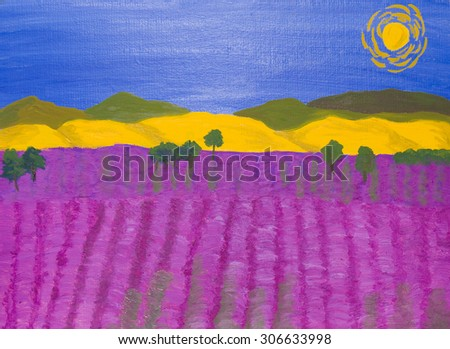 Landscape with lavender field and yellow hills, oil painting. - stock photo