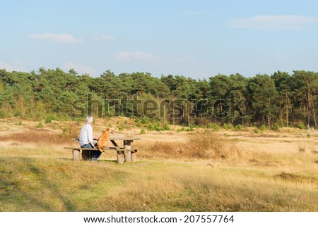 landscape with man and dog at the wooden bench - stock photo