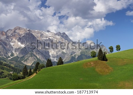 Landscape with meadows and trees at the foot of mountain Hochkonig in summer late afternoon light, Salzburg, Austria - stock photo