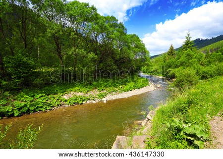 landscape with mountain river and green trees in summer day