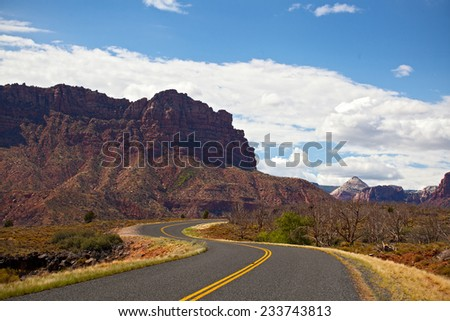Landscape with Mountain winding road in Utah USA on a beautiful summer day