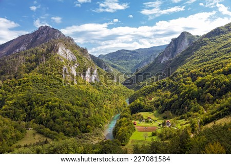 Landscape with mountains and canyon of river Tara, Montenegro - stock photo