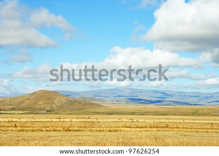 Landscape with  mountains and clouds in Armenia.