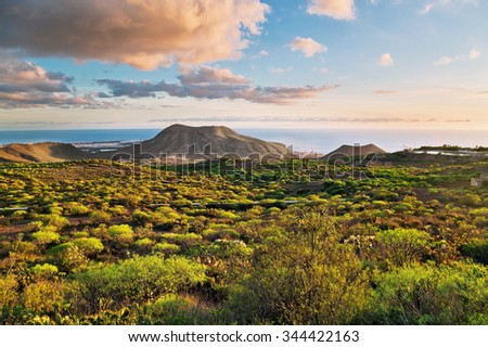 Landscape with mountains and sea in sunset time  in Tenerife, Canary Islands, Spain