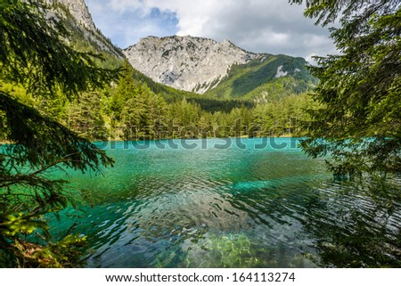 Landscape with mountains and turquoise lake-Gruener See,Styria,Austria.  - stock photo