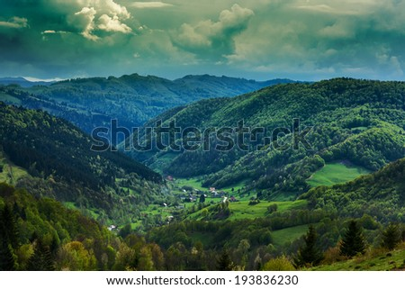 Landscape with mountains covered in pine forests - stock photo
