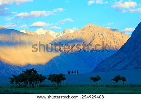 Landscape with mountains, green valley and caravan of camels.  Himalayas - stock photo