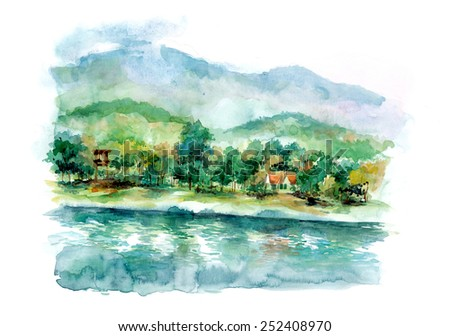 landscape with mountains water colour illustration - stock photo