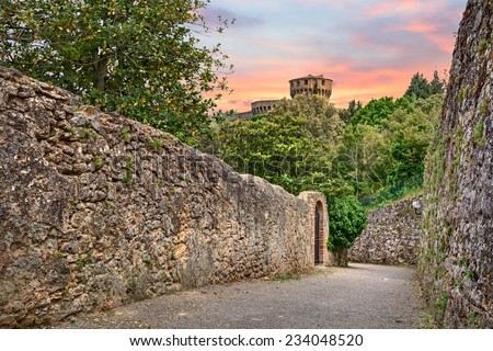 landscape with narrow street with stone walls, trees and plants and castle in background, in the outskirts of the medieval town Volterra, Tuscany, Italy  - stock photo