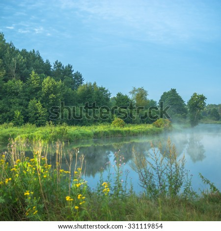 landscape with natural foggy river, nature series - stock photo