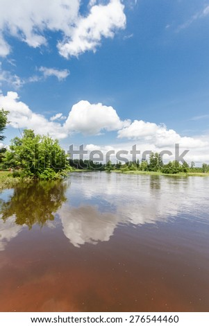 landscape with natural river, nature series - stock photo