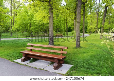 Landscape with old bench in the beautiful park.  - stock photo