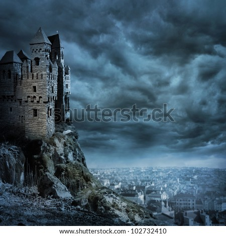 Landscape with old castle at night - stock photo