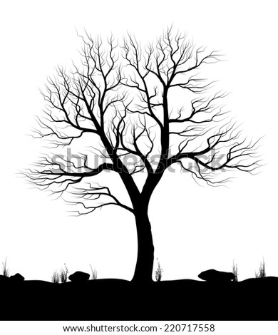 Landscape with old tree and grass over white background. Black and white illustration.  Raster illustration. - stock photo