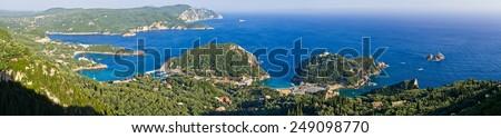 Landscape with Paleokastritsa bay on Crofu island, Greece - stock photo