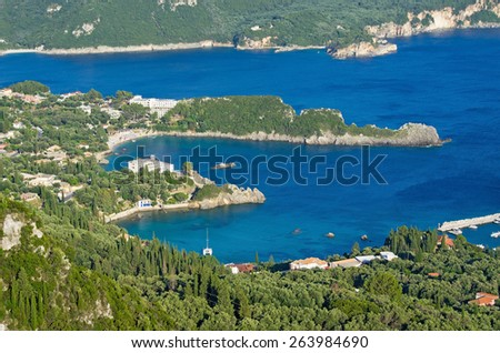 Landscape with Paleokastritsa bay on Crofu island, Greece