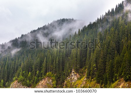 Landscape with Parang mountains in Romania in a foggy rainy day