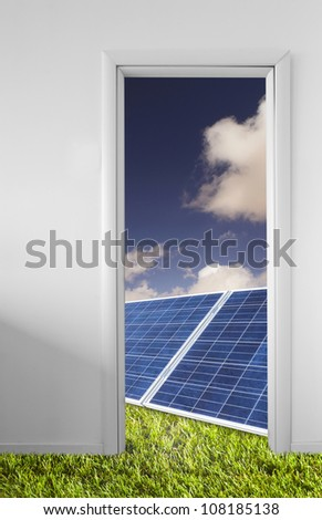 Landscape with photovoltaic panels - stock photo