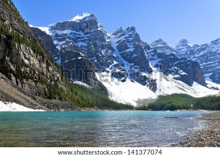 landscape with picturesque Lake Agnes, National Park, Banff Alberta, Canada - stock photo