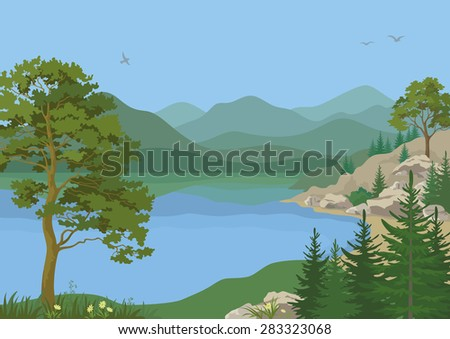 Landscape with Pine, Fir Trees, Flowers and Grass on the Shore of a Mountain Lake under a Blue Sky with Birds.  - stock photo