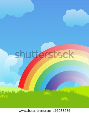 Landscape with rainbow - stock photo