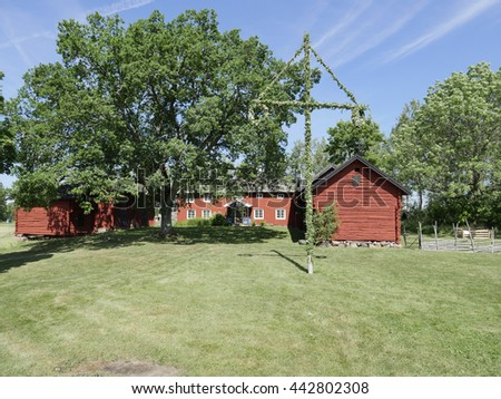 Landscape with red cottage in a beautiful midsummer with maypole - stock photo