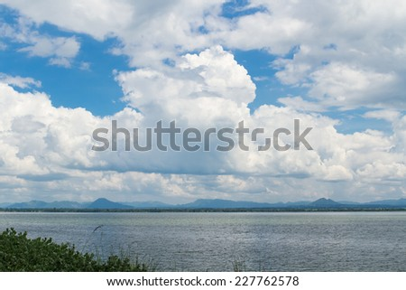 Landscape with river and blue sky