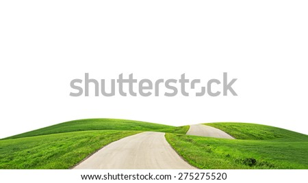 Landscape with road on isolated white background - stock photo